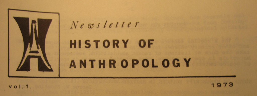 History of Anthropology Newsletter volume 1